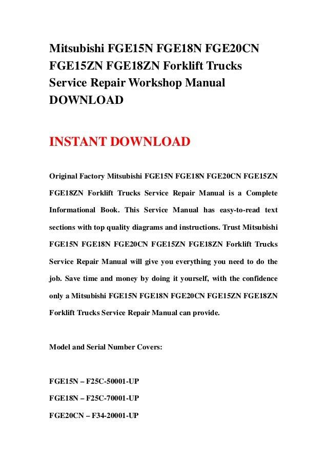 ... FGE18ZN Forklift Trucks Service Repair Workshop Manual DOWNLOAD