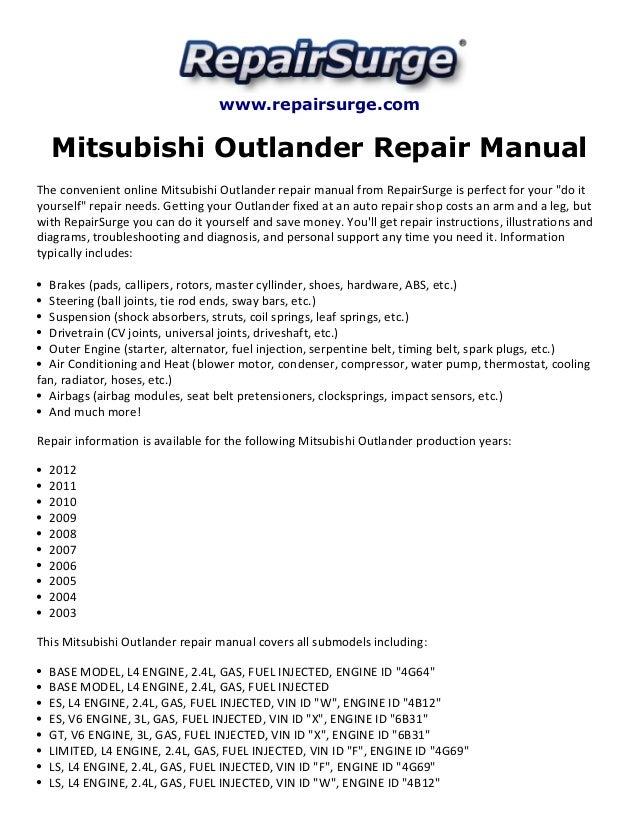 Mitsubishi outlander repair manual 2003 2012