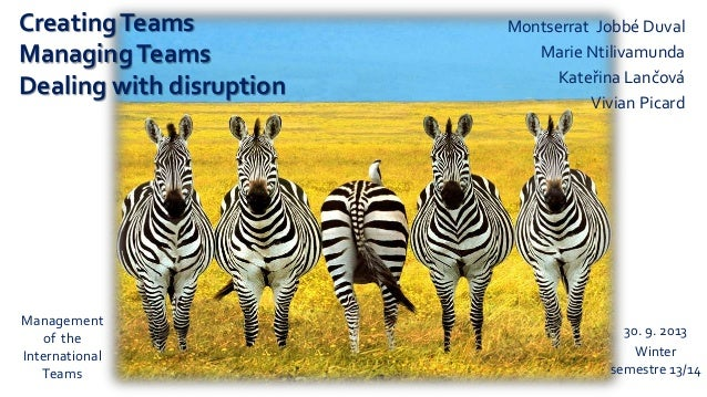 CreatingTeams ManagingTeams Dealing with disruption Montserrat Jobbé Duval Marie Ntilivamunda Kateřina Lančová Vivian Pica...