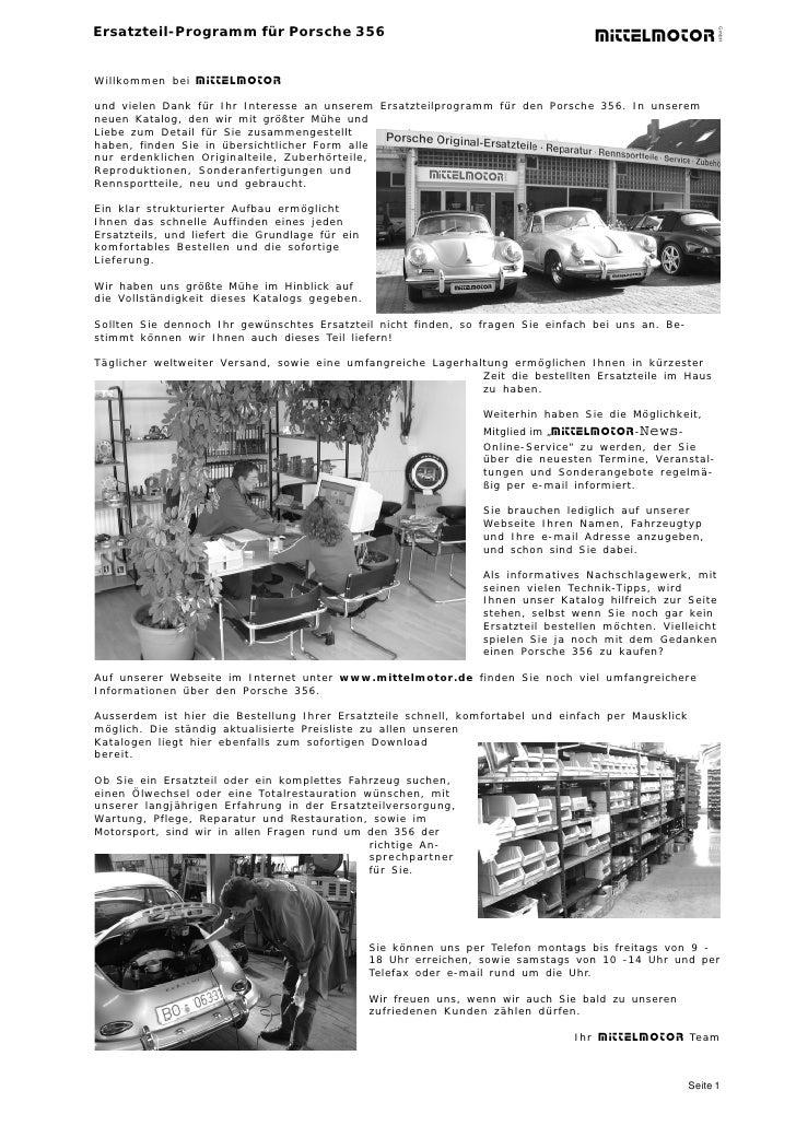 Ersatzteil-Programm für Porsche 356                                                                                       ...
