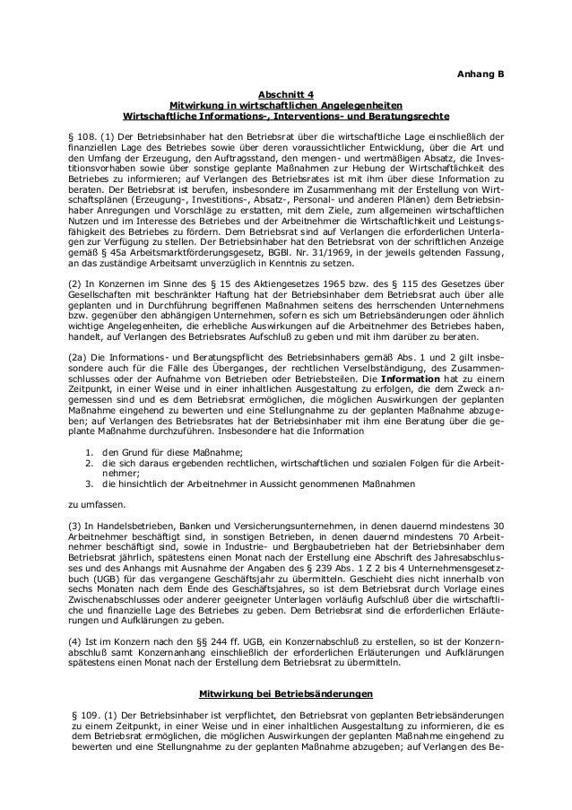 Anhang B Abschnitt 4 Mitwirkung in wirtschaftlichen Angelegenheiten Wirtschaftliche Informations-, Interventions- und Bera...