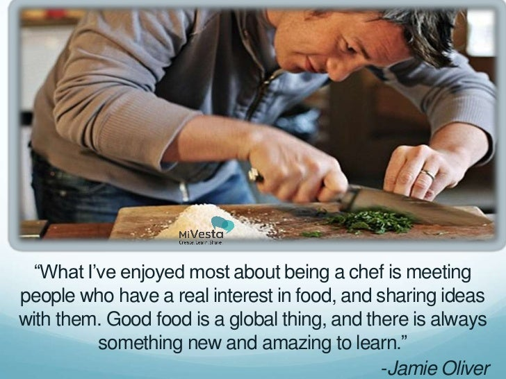 """What I've enjoyed most about being a chef is meetingpeople who have a real interest in food, and sharing ideaswith them. ..."