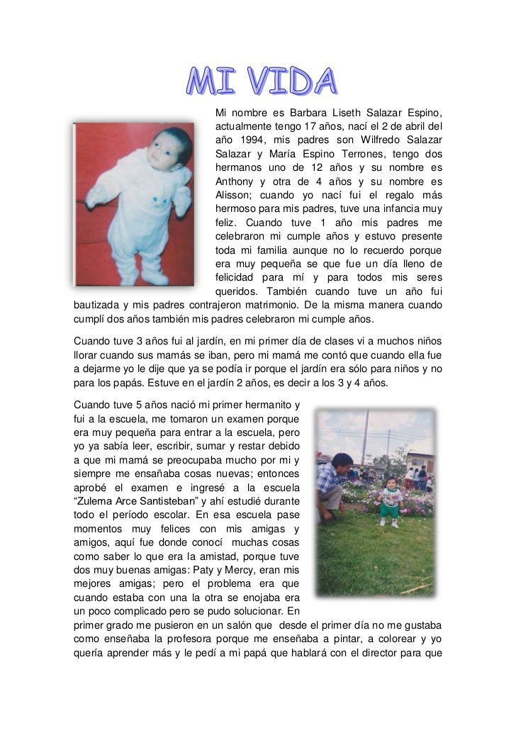 -22860233680Mi nombre es Barbara Liseth Salazar Espino, actualmente tengo 17 años, nací el 2 de abril del año 1994, mis pa...