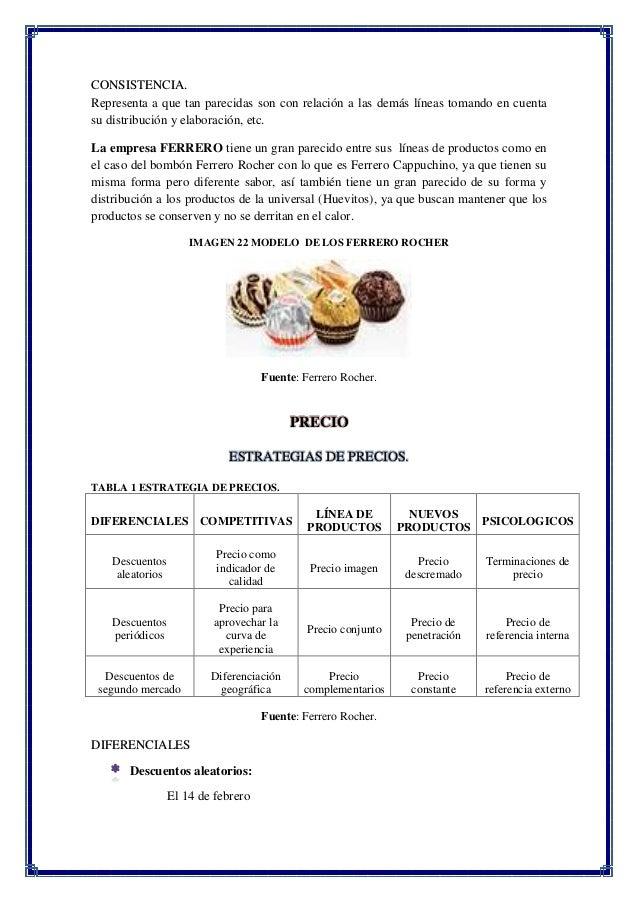 marketing mix de ferrero rocher Presentation ferrero rocher in a walnut croquanteswot analysis marketing mix analysisstrength product •unique product and taste etude de marque - ferrero.