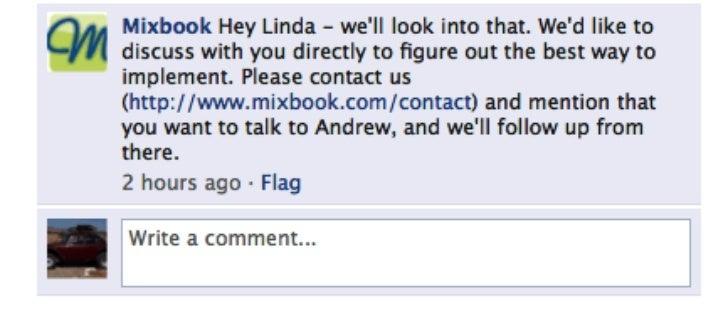 Mixbook's Response on Facebook