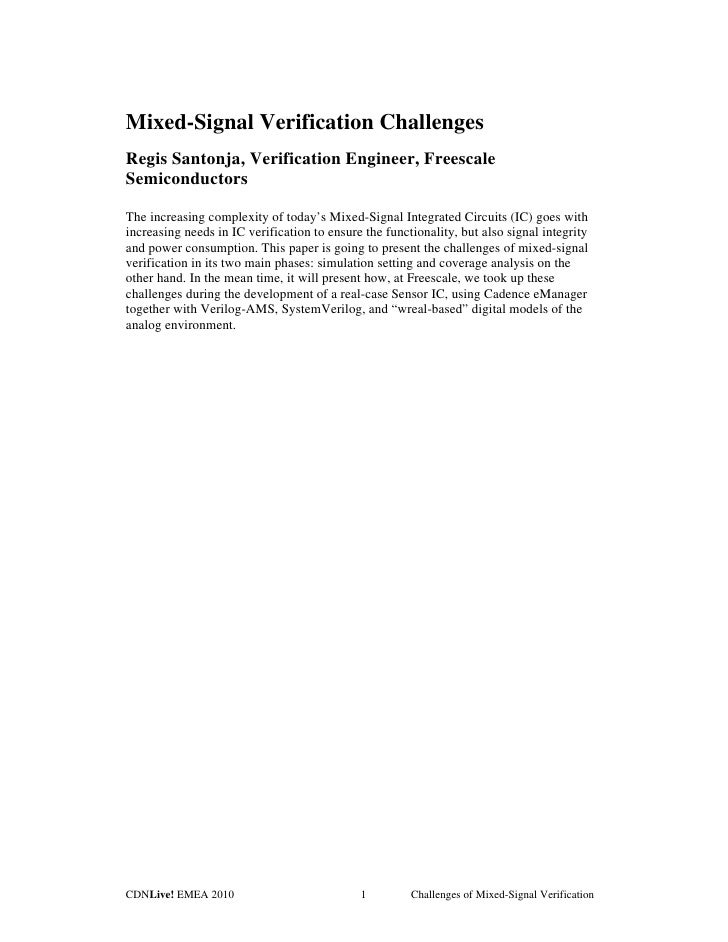 Mixed signal verification challenges