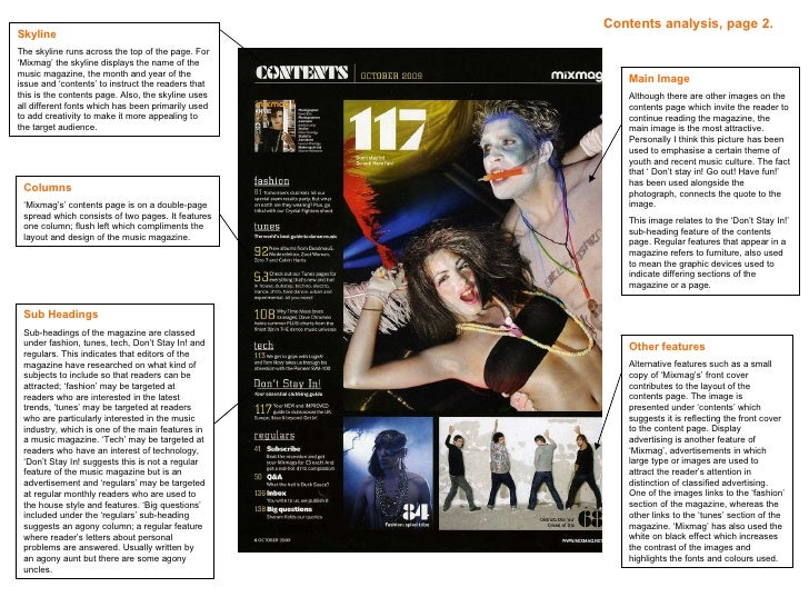 Mixmag contents page 2 analysis