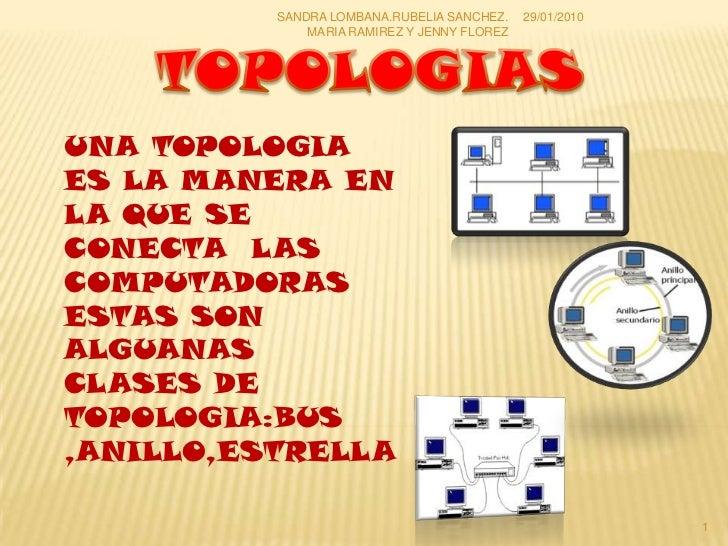 TOPOLOGIAS<br />UNA TOPOLOGIA ES LA MANERA EN LA QUE SE CONECTA  LAS COMPUTADORAS ESTAS SON ALGUANAS CLASES DE TOPOLOGIA:B...
