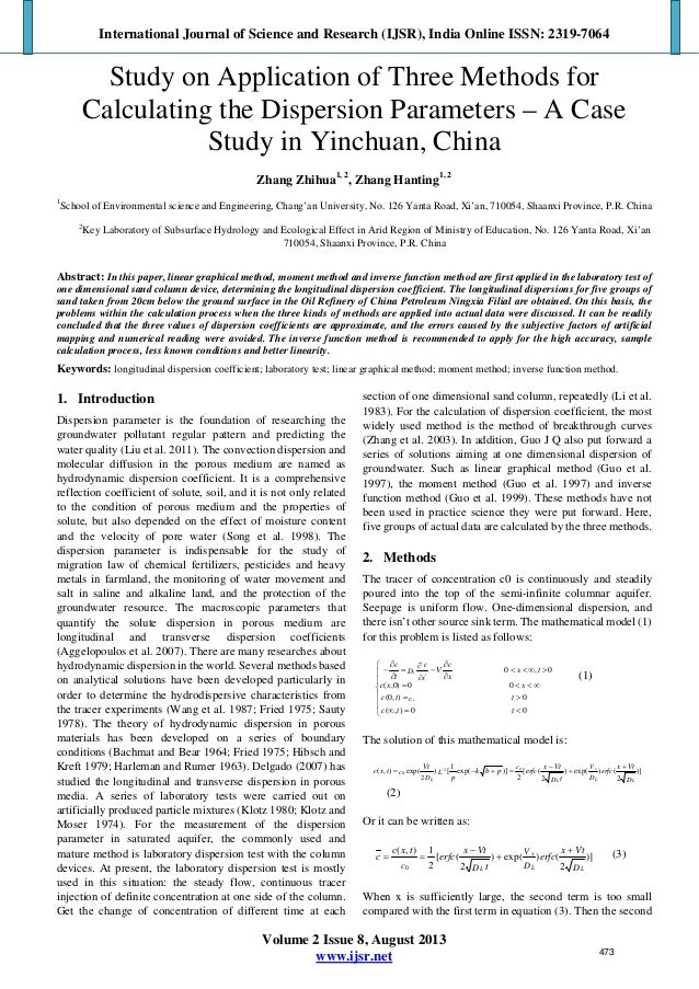 Study on Application of Three Methods for Calculating the Dispersion Parameters – A Case Study in Yinchuan, China