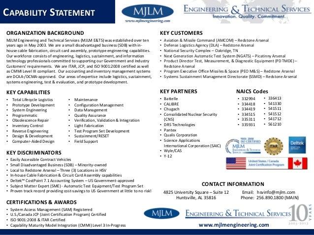 Mjlm capability statement 2015 for Sdb business
