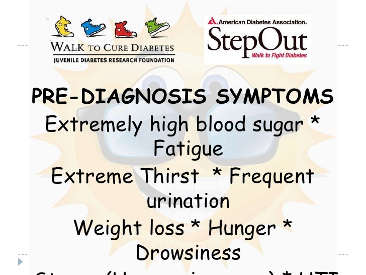PRE-DIAGNOSIS SYMPTOMS<br />Extremely high blood sugar * Fatigue <br />Extreme Thirst  * Frequent urination<br />Weight lo...