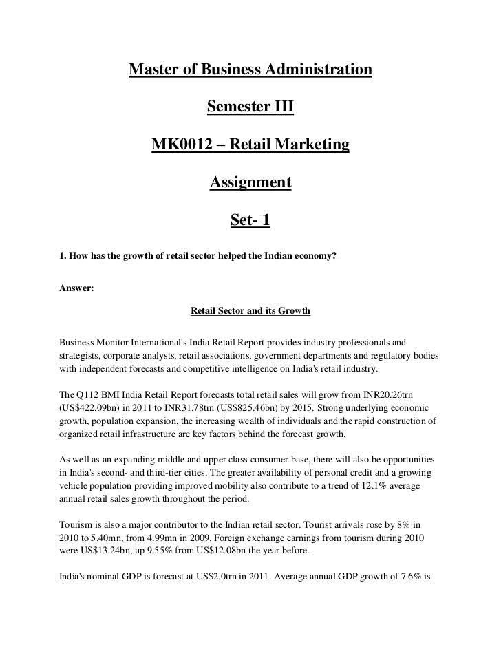 Master of Business Administration                                       Semester III                        MK0012 – Retai...