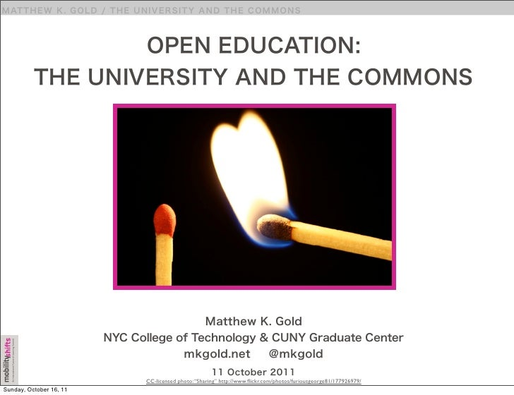 Open Education: The University and the Commons