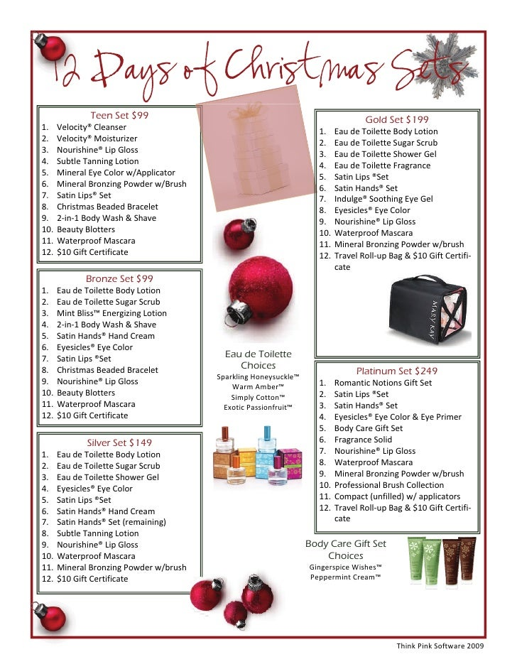 Mary kay holiday gift guide for 12 days of christmas salon specials