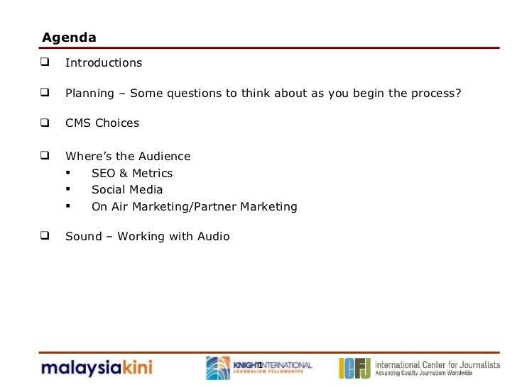 Agenda  <ul><li>Introductions </li></ul><ul><li>Planning – Some questions to think about as you begin the process? </li></...