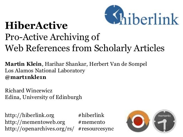Hiberactive: Pro-Active Archiving of  Web References from Scholarly Articles