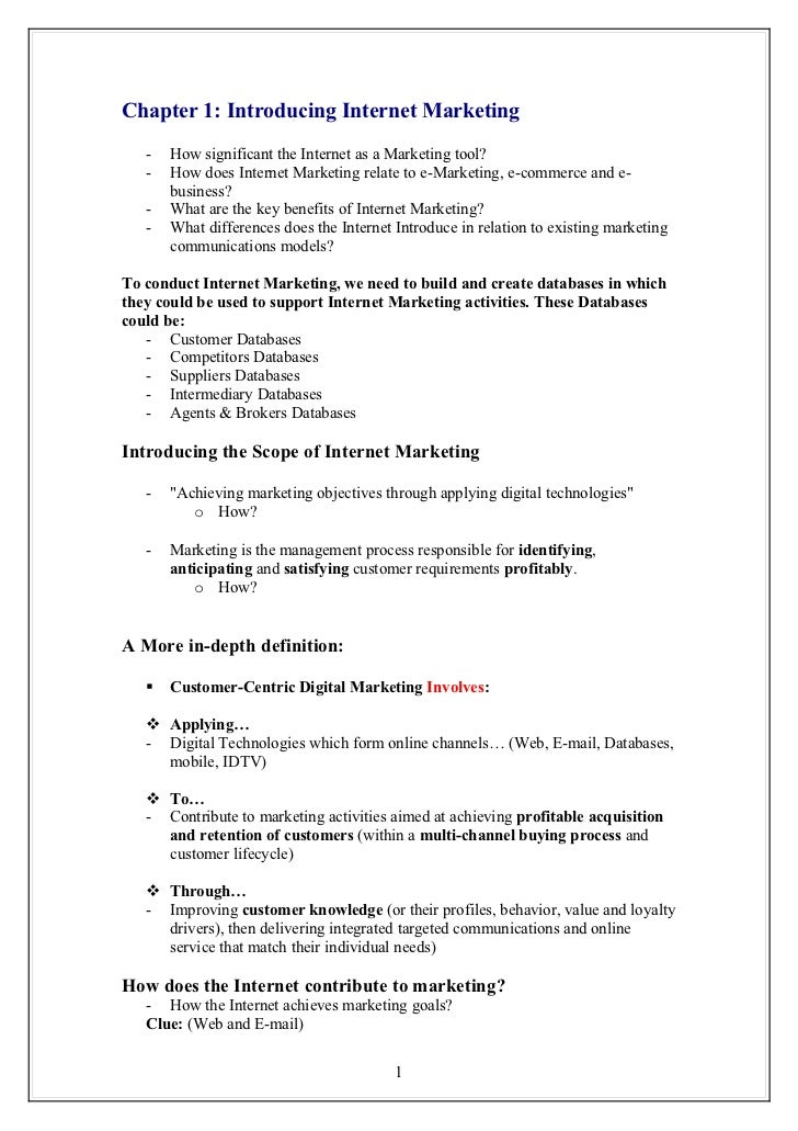Chapter 1: Introducing Internet Marketing   -   How significant the Internet as a Marketing tool?   -   How does Internet ...