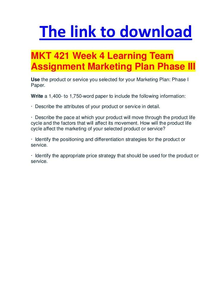 mkt 421 week 2 team d marketing