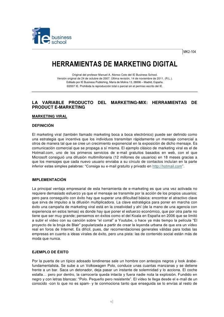 MK2-104            HERRAMIENTAS DE MARKETING DIGITAL                           Original del profesor Manuel A. Alonso Coto...