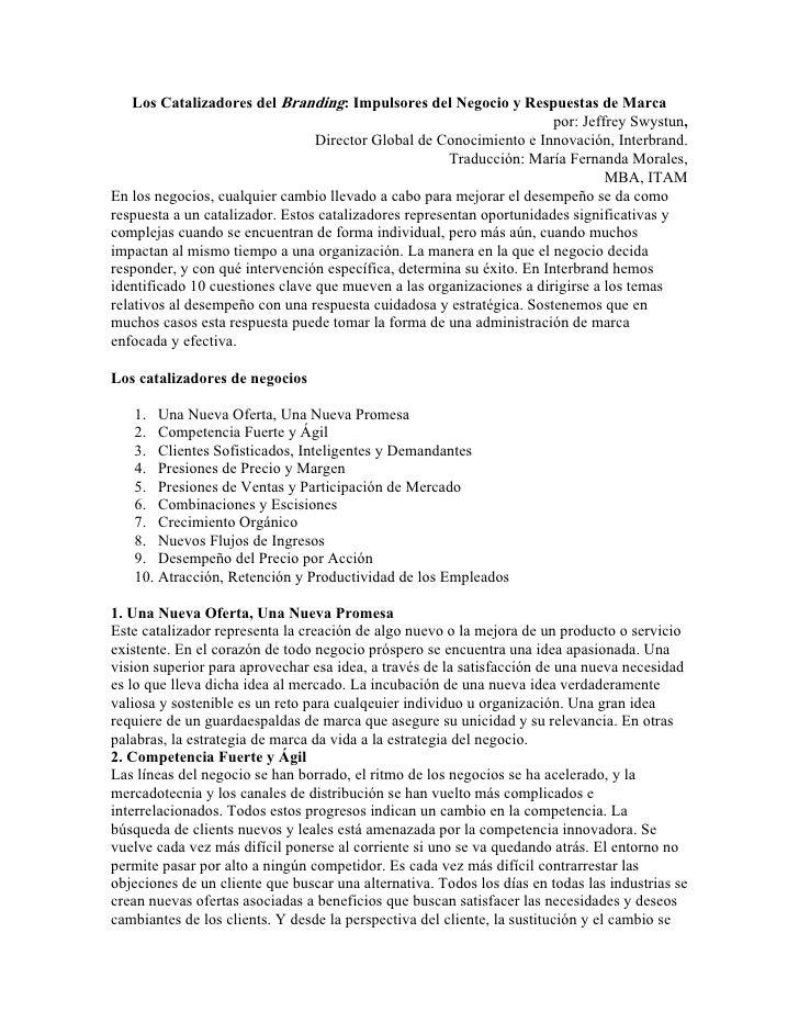 Los Catalizadores del Branding: Impulsores del Negocio y Respuestas de Marca                                              ...