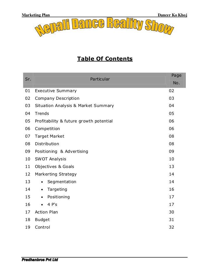 Marketing Plan                                   Dancer Ko Khoj                             Table Of Contents             ...