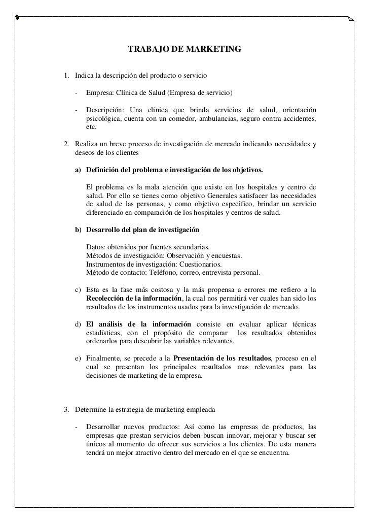 TRABAJO DE MARKETING<br />Indica la descripción del producto o servicio<br />Empresa: Clínica de Salud (Empresa de servici...