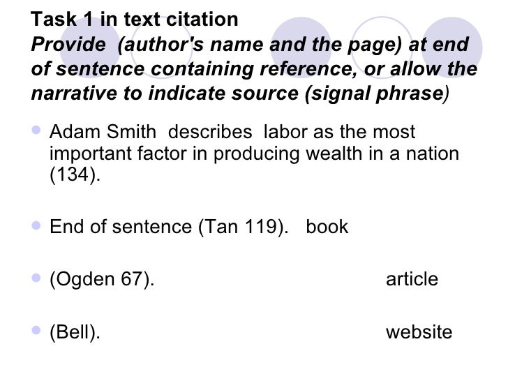 In text citations for a book