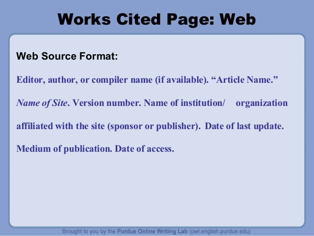 owl purdue mla works cited essay