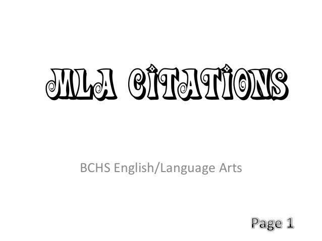 MLA Citations BCHS English/Language Arts