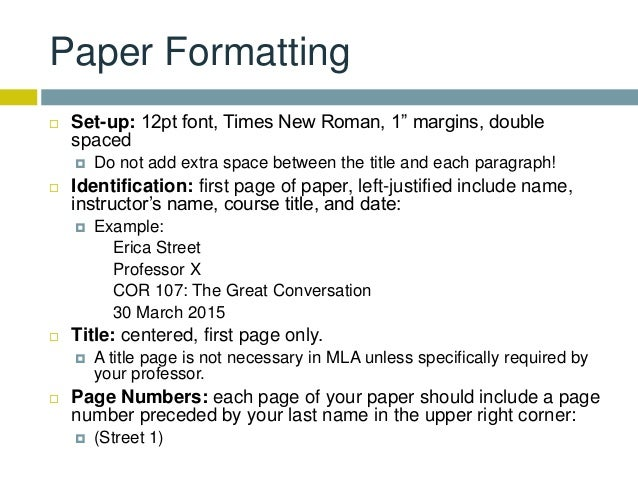 mla format for one page essay