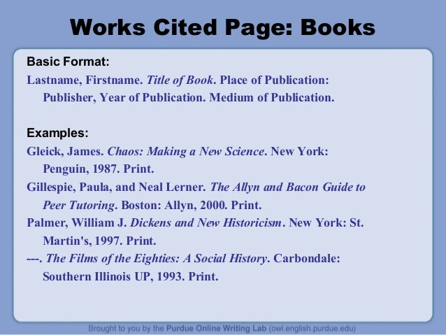 work cited page for a movie