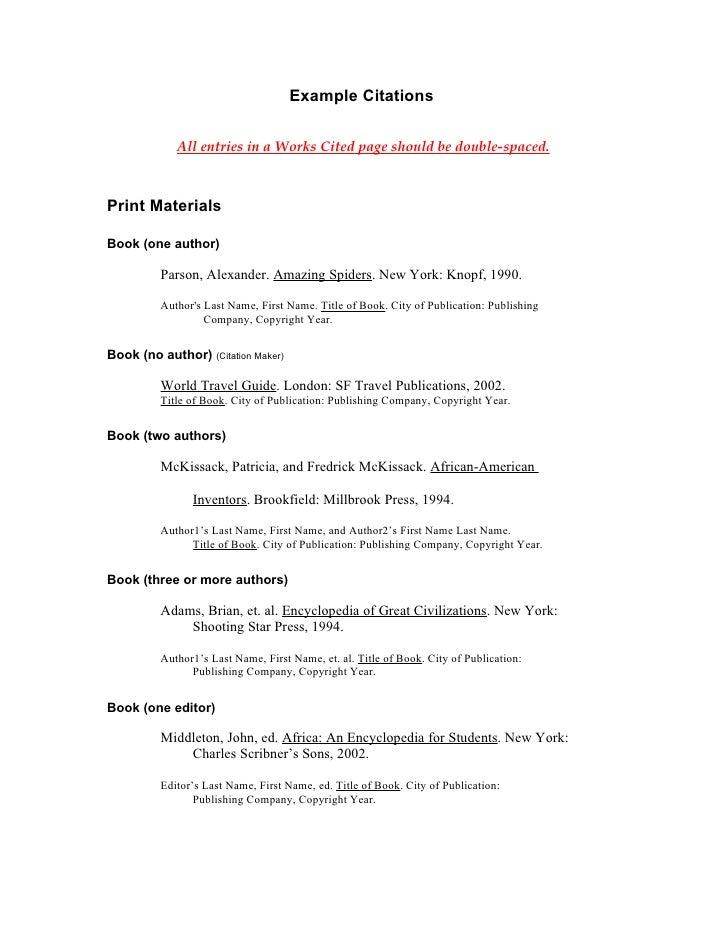 Mla example citations