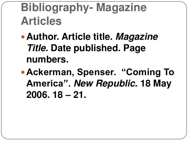Bibliography of article