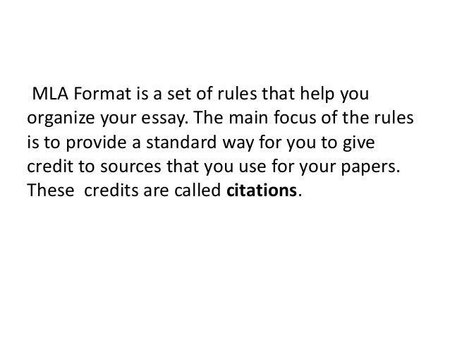 What exactly is mla format?