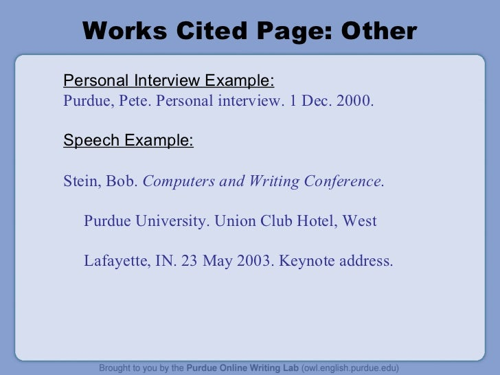 format for work cited page