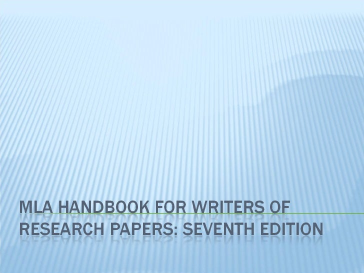 Mla guide to research papers