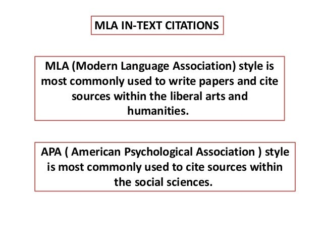 how to put in text citations mla style