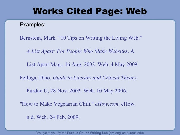 works cited page format mla