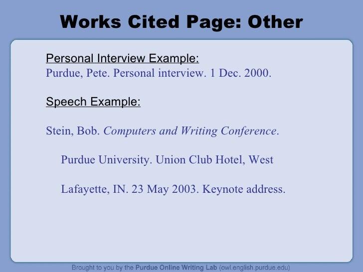 Mla citation bibliography example