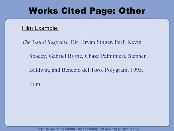 work cited page template