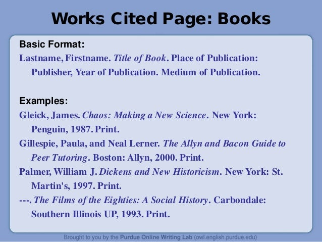 Work Cited Format For Books Works Cited Page Books Basic