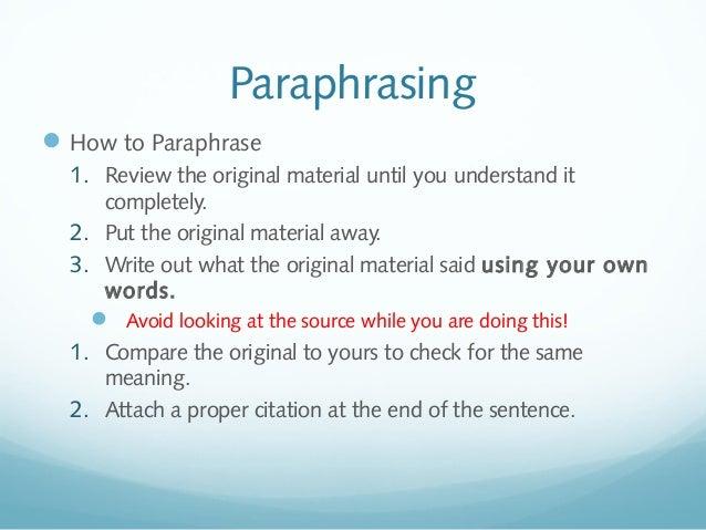 How to cite a paraphrase mla