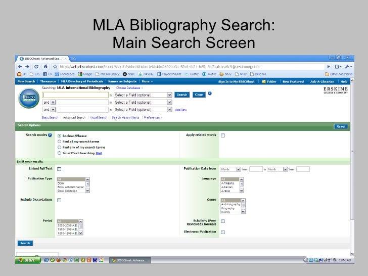 MLA Bibliography Search: Main Search Screen
