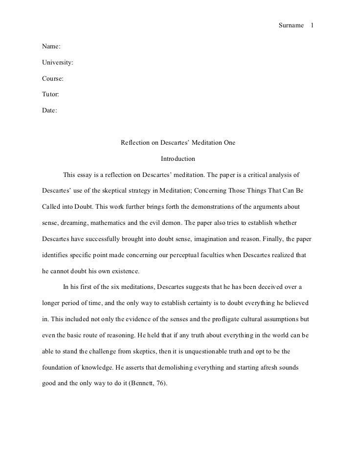 Reflective essay layout heading