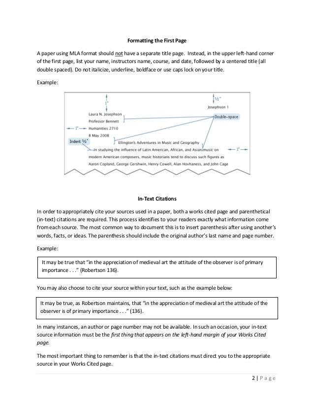Mla essay title format