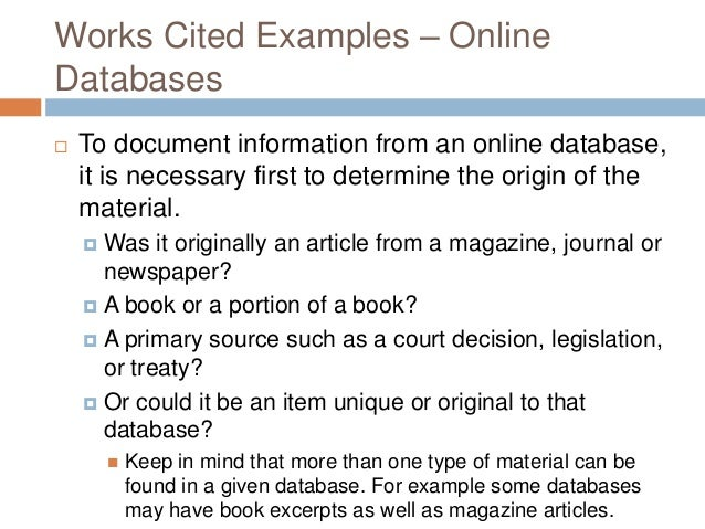 Web Works Cited Example Works Cited Examples – Online