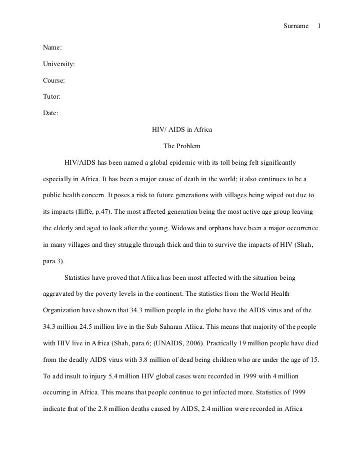 Essay on aids in africa