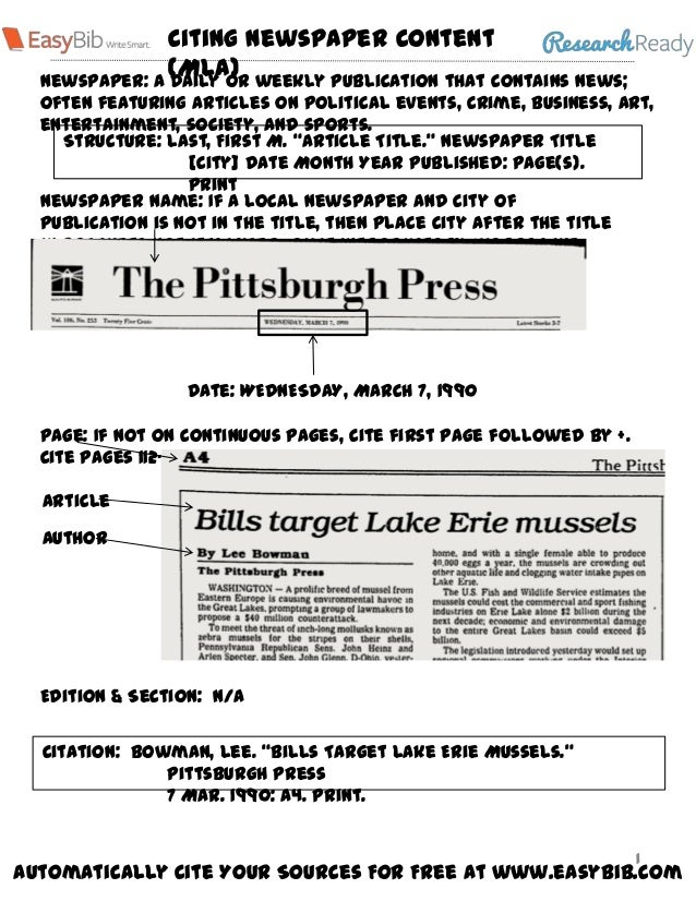 MLA 7 Visual Guide - Newspaper