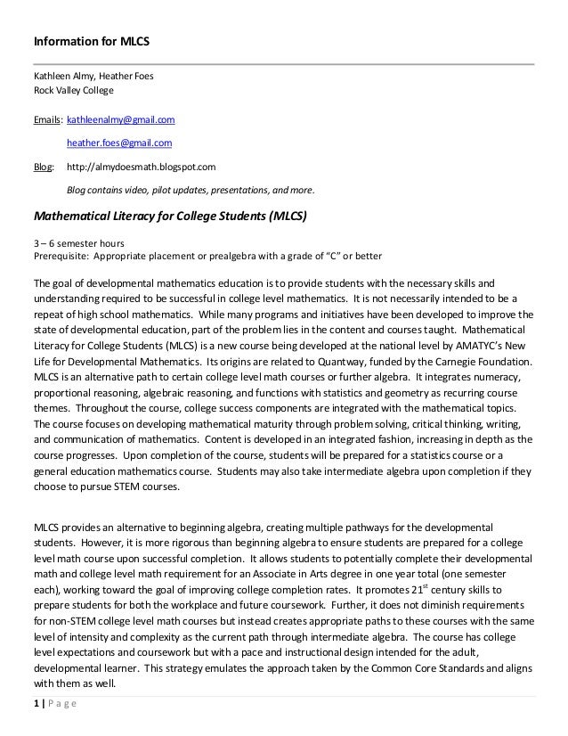 Information for MLCSKathleen Almy, Heather FoesRock Valley CollegeEmails: kathleenalmy@gmail.com        heather.foes@gmail...