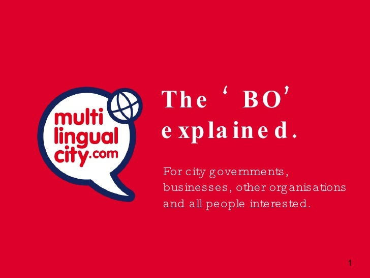 The 'BO' explained. <ul><li>For city governments, businesses, other organisations and all people interested. </li></ul>